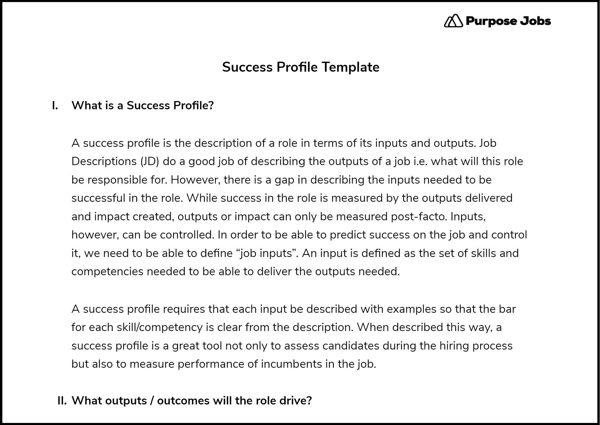 success profile template