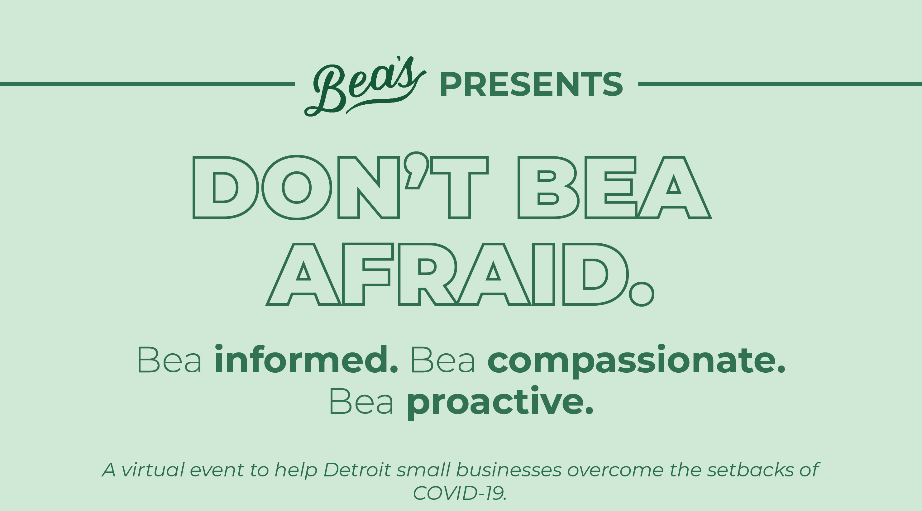 Bea's to Host Don't Bea Afraid: A Virtual Event for Small Businesses in Detroit